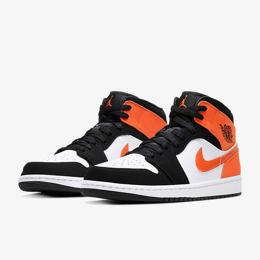 Chaussures Nike Air Jordan 1 Mid Shattered Backboard Solde Blanche Noir Orange Femme Homme