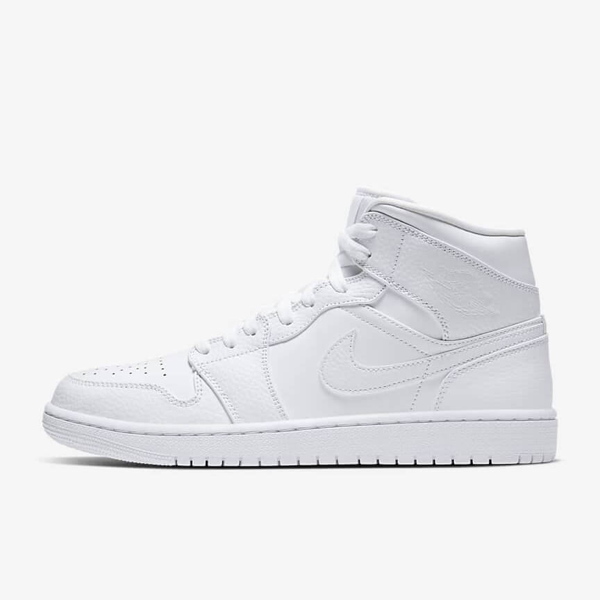 Chaussures Nike Air Jordan 1 Mid Triple White 2.0 France