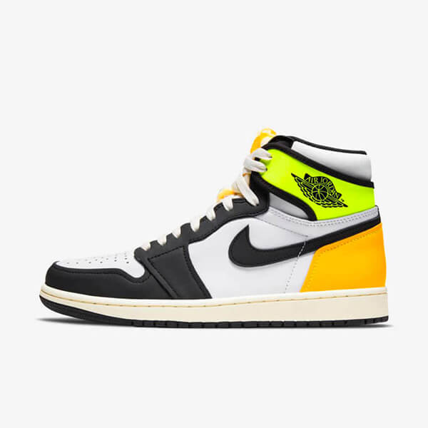 Chaussures Nike Air Jordan 1 Retro High White Black Volt University Gold Femme Homme Pas Cher