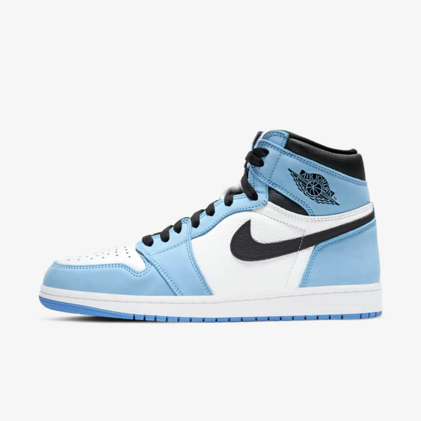 Chaussures Nike Air Jordan 1 Retro High White University Blue Black Femme Homme Pas Cher