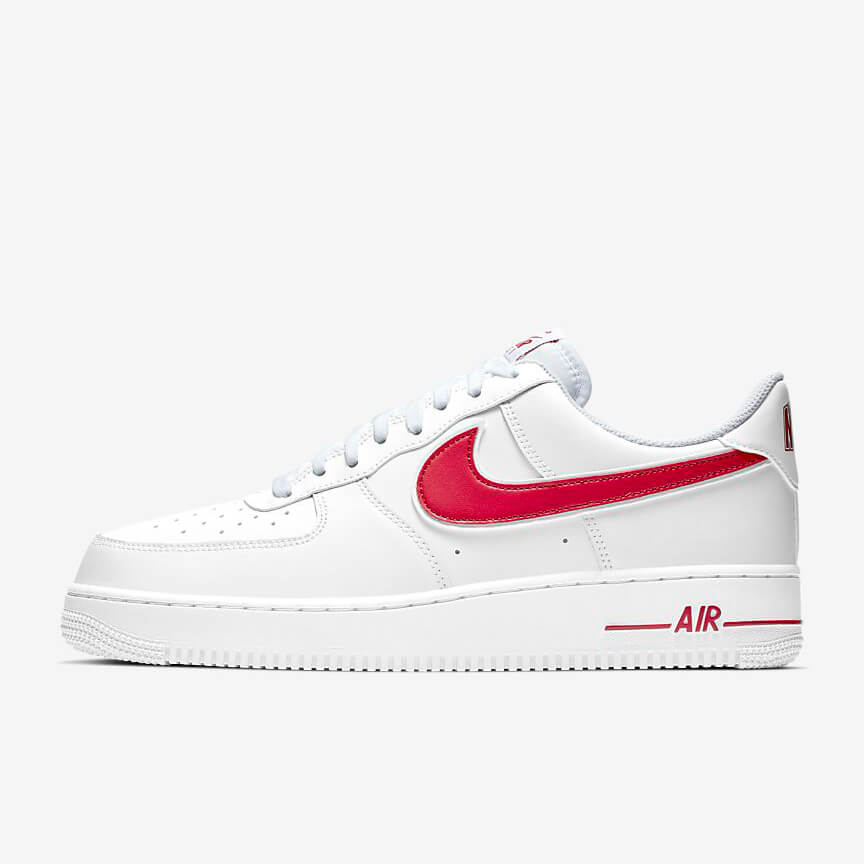 Chaussures Nike Air Force 1 07 Low Blanche Rouge France