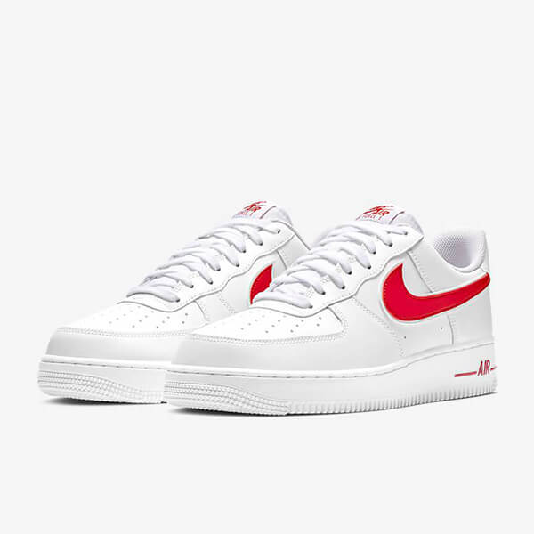 Chaussures Nike Air Force 1 07 Solde Low Blanche Rouge Femme Homme